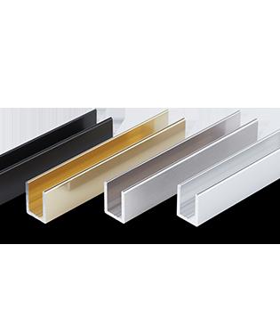U-profil til glasvæg